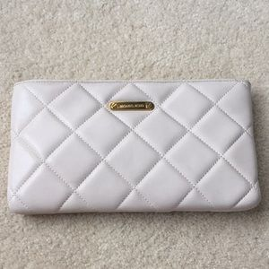 Cream Michael Kors Quilted Clutch